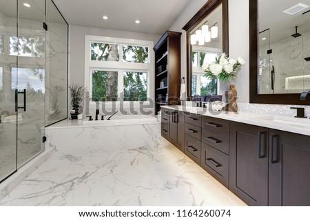 Bano moderna interior oscuro madera dura grande Foto stock © iriana88w