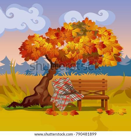 Fából készült pad kockás pléd ősz fa Stock fotó © Lady-Luck