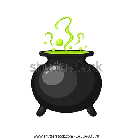 Steel cauldron with boiling green magic potion isolated on white background. Sketch for a poster or  Stock photo © Lady-Luck