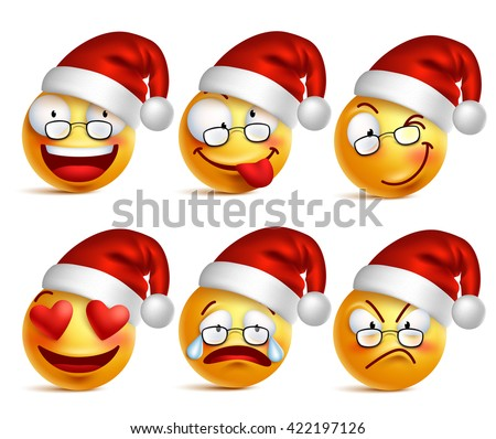 Christmas Smiley face emojis or yellow emoticons in glossy 3D realistic with Santa's hat, vector ill Stock photo © ikopylov