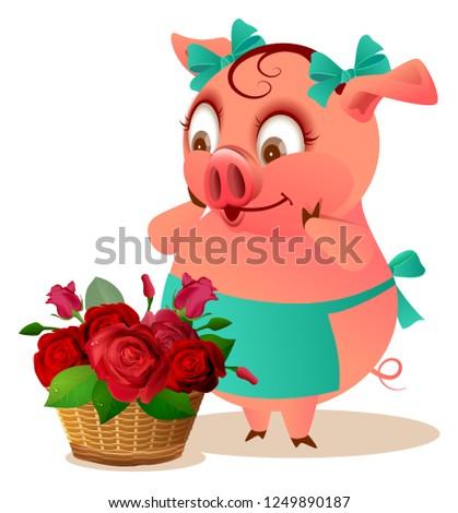 Porco dona de casa feminino grande cesta flores Foto stock © orensila