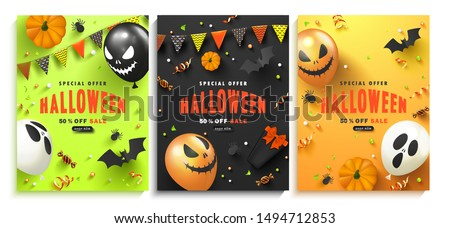halloween sale vector banner illustration with coffin and zombie hand on blue background holiday de stock photo © articular