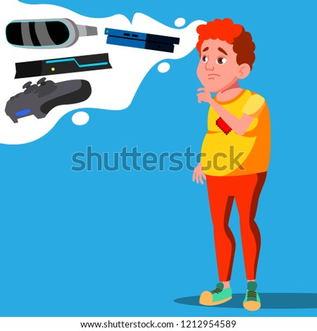 teenager dreaming of video game gadgets vector isolated illustration stock photo © pikepicture