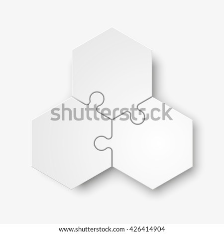 Stock photo: Three piece flat puzzle round infographic presentation. 3 step circle business diagram. Three sectio