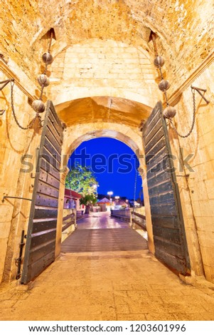 Stock photo: Pile gate entrance in historic town of Dubrovnik evening view