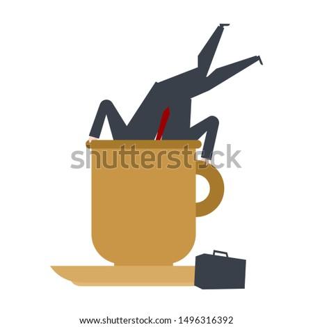 Zakenman groot koffiemok baas duik koffie Stockfoto © MaryValery