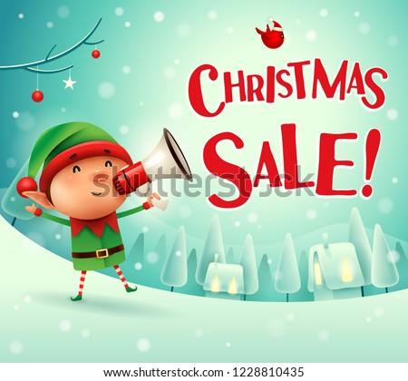 Christmas Sale! Little elf with megaphone in Christmas snow scen Stock photo © ori-artiste