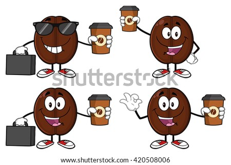 Funny Coffee Bean Cartoon Mascot Character With Sunglasses Wearing A Foam Finger Stock photo © hittoon