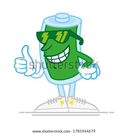 Glimlachend batterij cartoon mascotte karakter Stockfoto © hittoon