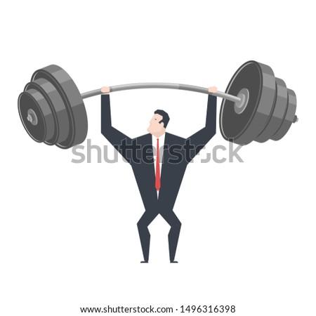 Zakenman gewichten baas gewichtheffer kantoor leven Stockfoto © MaryValery
