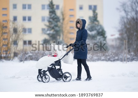 Mother with baby stroller enjoying motherhood in winter forest Stock photo © blasbike