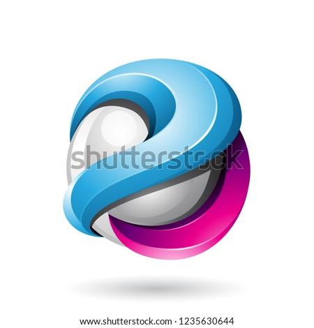 Blue and Magenta Bold Metallic Glossy 3d Sphere Vector Illustrat Stock photo © cidepix