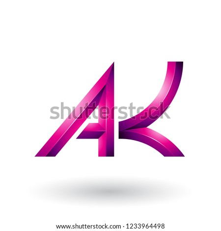 Magenta Bold and Curvy Geometrical Letters A and K Vector Illust Stock photo © cidepix