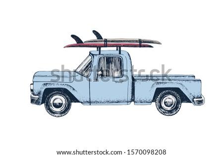 hippi · szörfdeszka · furgon · tengerpart · szín · logók - stock fotó © jeksongraphics