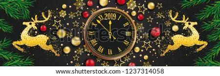 Noel önemsiz şey saat altın yeşil Stok fotoğraf © limbi007