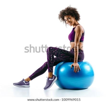 Fiatal nő ül pilates golyók pihen képzés Stock fotó © boggy