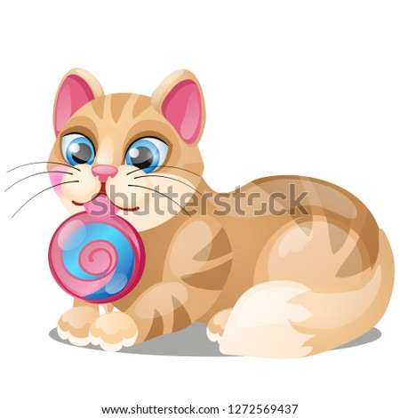 Striped cat licks lollipop isolated on white background. Vector cartoon close-up illustration. Stock photo © Lady-Luck