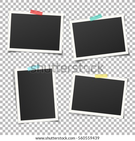 Stock photo: Set of photo frames with shadow. Template for photo, image. White border.