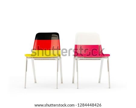 Twee stoelen vlaggen Duitsland Polen geïsoleerd Stockfoto © MikhailMishchenko