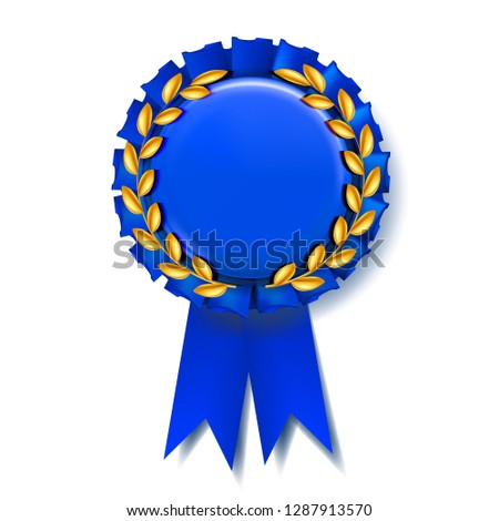 Blue Award Ribbon Vector. Best Trophy. Luxury Product. Object Template. 3D Realistic Illustration Stock photo © pikepicture