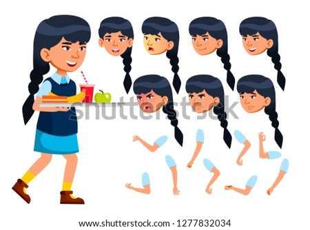 Asian Girl Child Vector. Face Emotions, Various Gestures. Animation Set. Isolated Cartoon Character  Stock photo © pikepicture