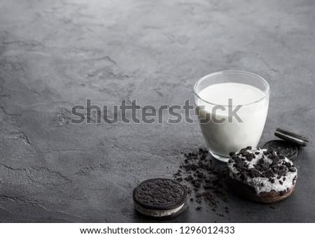 üveg · tej · fekete · sütik · kő · konyhaasztal - stock fotó © DenisMArt