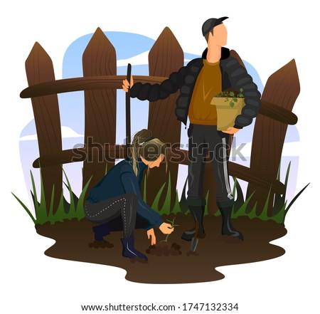 Man digging with showel and woman planting seeds vector illustration. Stock photo © RAStudio
