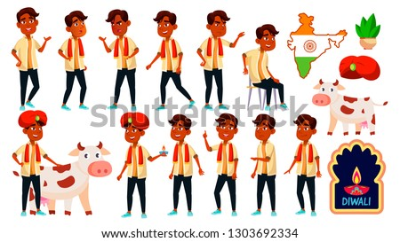 Indian Boy Kid Poses Set Vector. School Student. Graduation. Diwali, Holy, Cow. For Banner, Flyer, W Stock photo © pikepicture