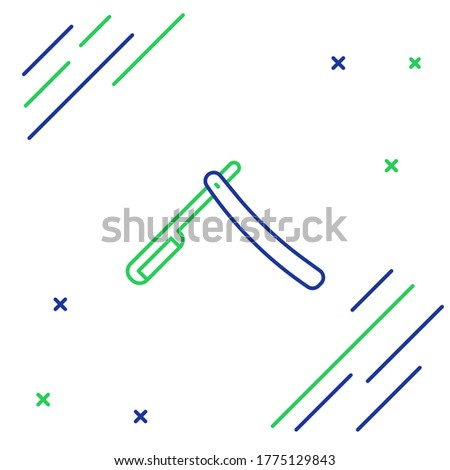 Straight razor green color isolated on white background. Vector cartoon close-up illustration. Stock photo © Lady-Luck
