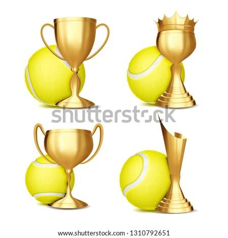 Tennis Game Award Set Vector. Tennis Ball, Golden Cup. Modern Tennis Tournament. Design For Sport Pr Stock photo © pikepicture
