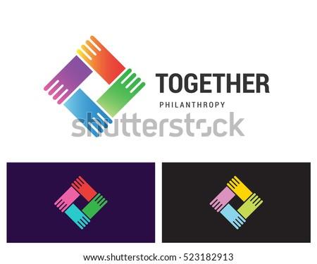 illustration team work logo template, education friendship illustration group symbol icon vector des Stock photo © gothappy