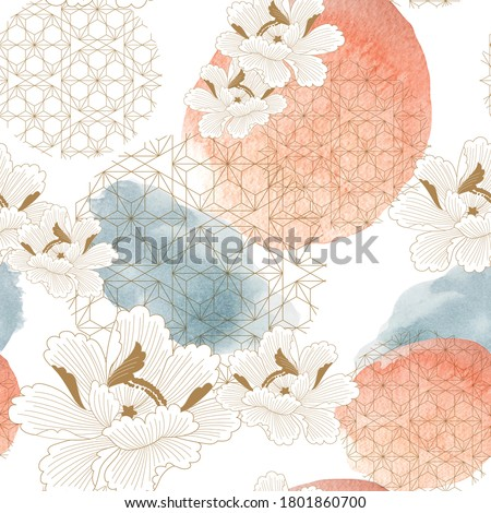 Colorful peony flowers watercolor banner Vector. floral bouquet invitation. Wedding ceremony events stock photo © frimufilms