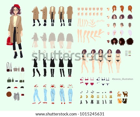 Animate woman character. Young lady personage constructor. Different postures, hairstyle, face, legs Stock photo © bonnie_cocos