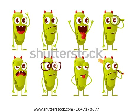 smiling horned green monster cartoon character holding a blank sign stock photo © hittoon