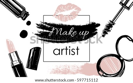 Makeup Brush Banner Vector. Cosmetic Background. Eye Beauty. Professional Object. Wooden Table. Hold Stock photo © pikepicture