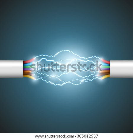Electric Break Cable Vector. Electrical Circuit. Industrial Network Power. Glowing Lightning. 3D Rea Stock photo © pikepicture