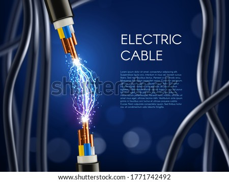 Disconnect Electric Cable Vector. Copper Wire Conductor. Communication Connection Component. 3D Real Stock photo © pikepicture