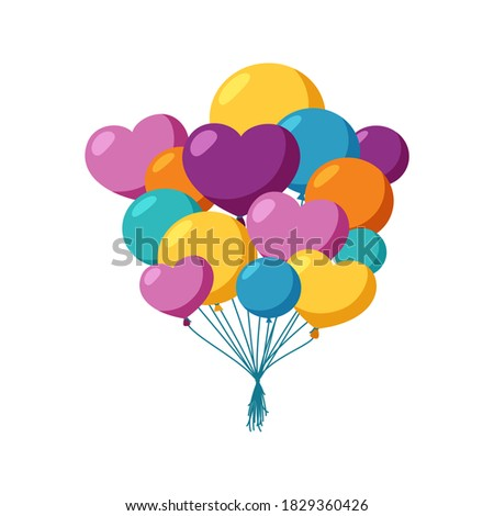 Balloons Vector. In Air. Big Surprise. Group Bunch. Flying. Birthday, Holiday Event Elements Decorat Stock photo © pikepicture