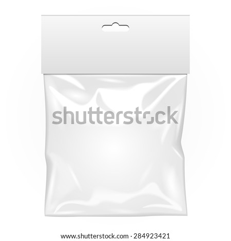 Plastic Pouch Bag Vector. Transparent Pocket Wrap With Hang. Empty Product Polyethylene Mock Up Temp Stock photo © pikepicture