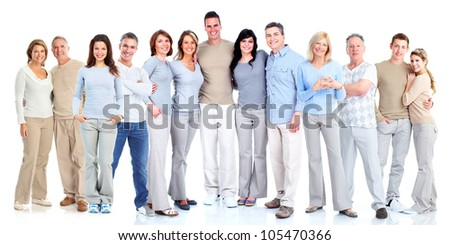 young couple friends students standing isolated over white wall background using mobile phones stock photo © deandrobot