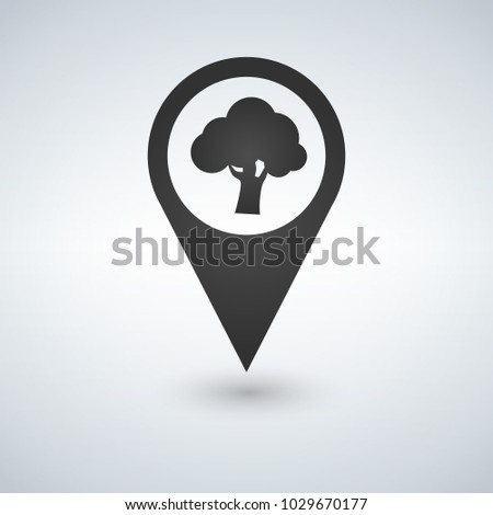 Forest location icon. tree inside pinpoint. Vector isolated illu Stock photo © kyryloff