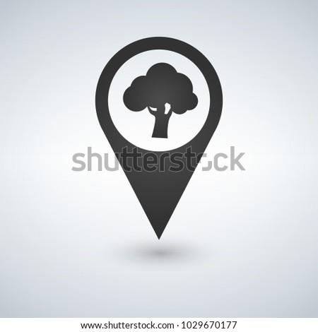 Orman konum ikon ağaç içinde vektör Stok fotoğraf © kyryloff