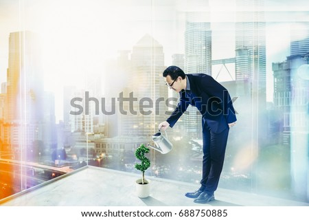 Investor Businessman. Man pouring water into pot and the money is growing. Flat vector illustration Stock photo © makyzz