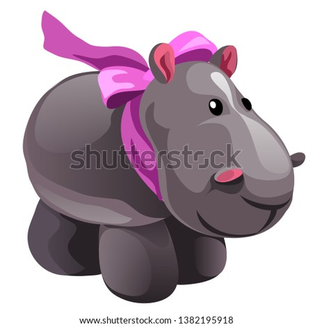 Soft toy plush grey Hippo with pink bow isolated on white background. Vector cartoon close-up illust stock photo © Lady-Luck