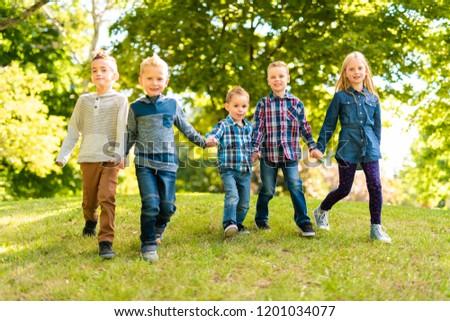 Stok fotoğraf: Grup · çocuklar · bahar · alan · okul