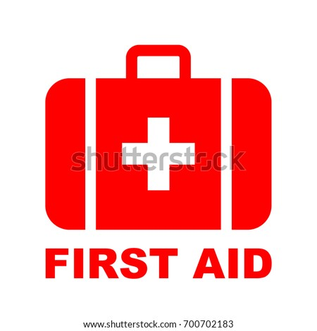 First aid kit label or sign. Medical box with cross. Medical equipment for emergency. Healthcare con Stock photo © kyryloff