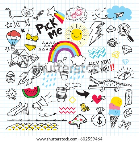 Colorful vector hand drawn doodles cartoon set of Coffee combinations of objects Stock photo © balabolka