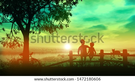 ブラザーズ 座って フェンス 背景 夏 日没 ストックフォト © ConceptCafe