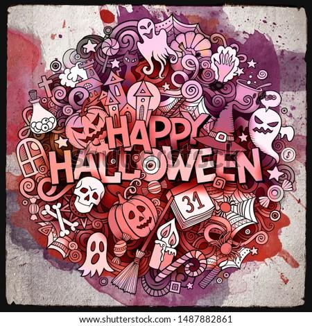 Stockfoto: Cartoon · aquarel · cute · halloween · opschrift