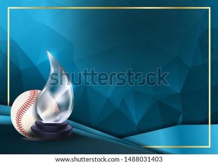 Foto d'archivio: Baseball · gioco · certificato · diploma · vetro · trofeo